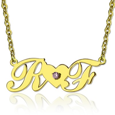 18ct Gold Plated Two Initials Necklace - Name My Jewellery