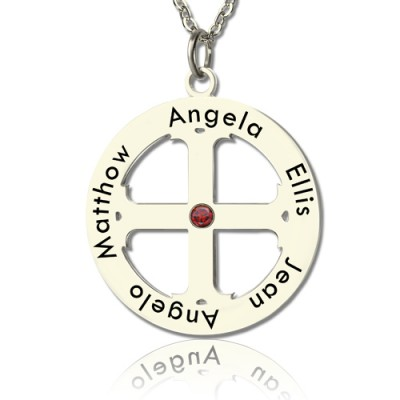 Family Circle Cross Name Necklace Silver - Name My Jewellery