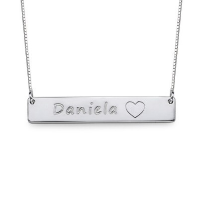 Silver Bar Necklace with Icons - Name My Jewellery