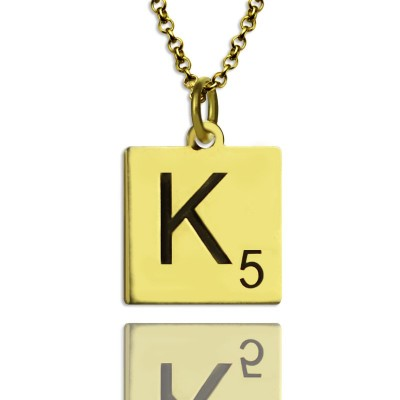 Engraved Scrabble Initial Letter Necklace 18ct Gold Plated - Name My Jewellery