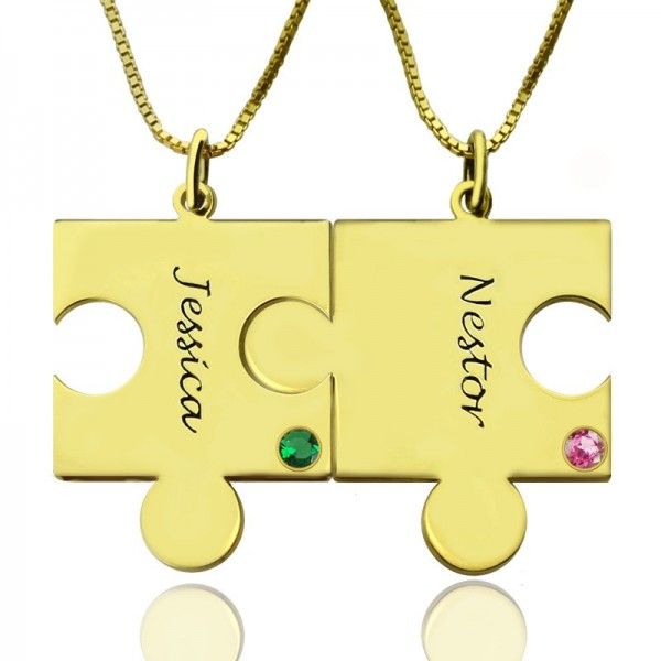 Matching Puzzle Necklace for Couple With Name  Birthstone 18ct Gold Plate  - Name My Jewellery