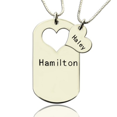Couples Name Dog Tag Necklace Set with Cut Out Heart - Name My Jewellery