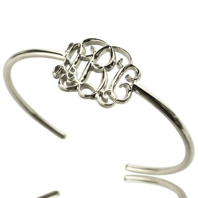 Celebrity Monogrammed Initial Bangle Bracelet Sterling Silver - Name My Jewellery