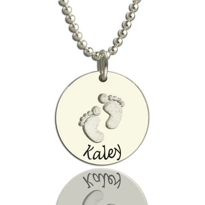 Memory Baby Footprints Name Necklace Sterling Silver - Name My Jewellery