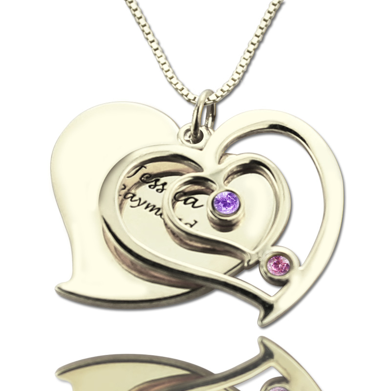 Personalized Sterling Silver Heart Necklace Birthstone Name Necklace Double Heart Pendant Couples Name Necklace