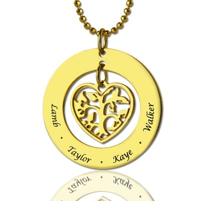 Circle Family Tree Pendant Necklace In 18ct Gold Plated - Name My Jewellery