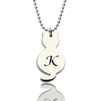 Personalised Tiny Cat Initial Pendant Necklace Silver - Name My Jewellery