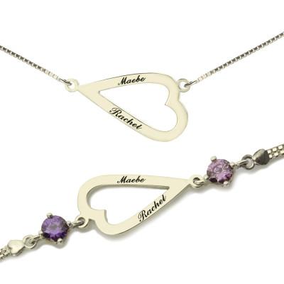 Love Jewellery Set- Open Heart Name Necklace  Bracelet - Name My Jewellery