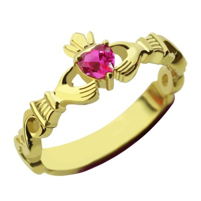 Ladies Modern Claddagh Rings With Birthstone  Name Gold Plated  - Name My Jewellery