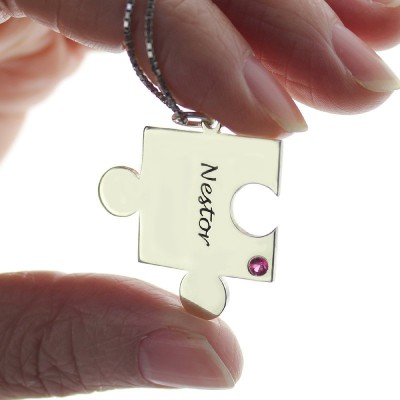 Engraved Puzzle Necklace for Couples Love Necklaces Silver - Name My Jewellery