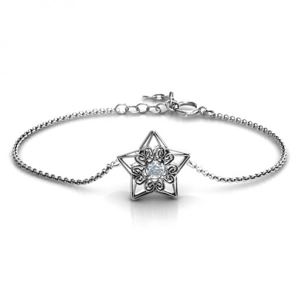 Personalised 3D Star Bracelet with Filigree Detailing - Name My Jewellery