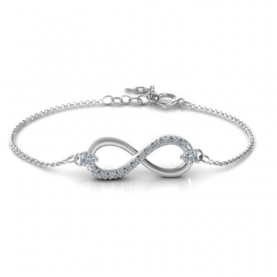 Personalised Double Stone Infinity Accent Bracelet  - Name My Jewellery