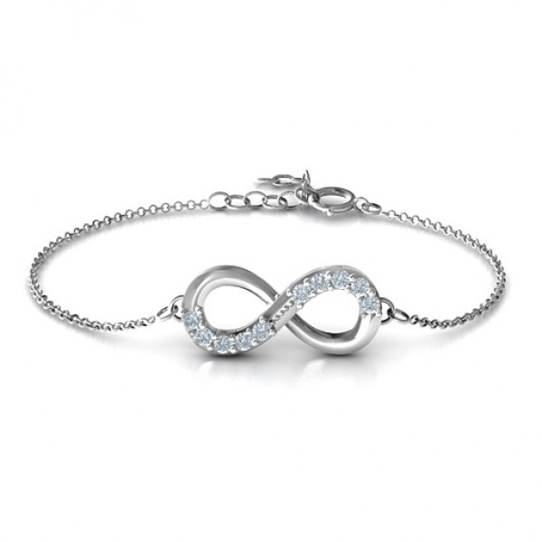 Sterling Silver Birthstone Accent Infinity Bracelet  - Name My Jewellery
