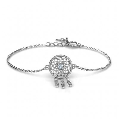Personalised Sterling Silver Dream Catcher Bracelet - Name My Jewellery
