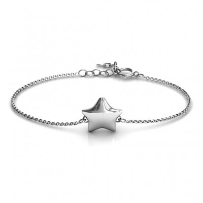 Personalised Sterling Silver Lucky Star Bracelet - Name My Jewellery