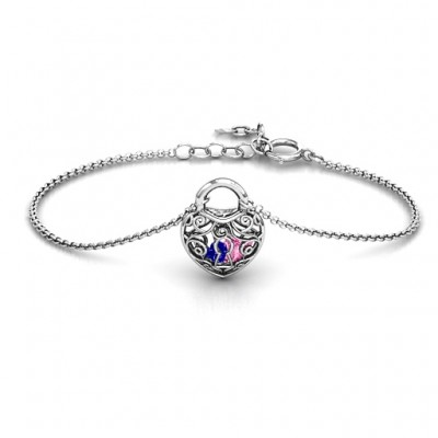Personalised Sterling Silver True Love's Lock Caged Bracelet - Name My Jewellery
