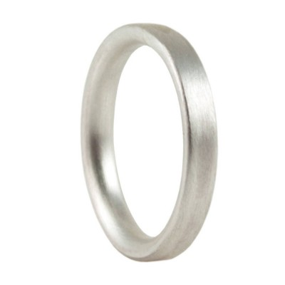 3mm Brushed Matte Flat Court Silver Wedding Ring - Name My Jewellery