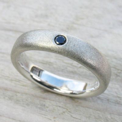 Mens Handmade Black Diamond Silver Ring - Name My Jewellery