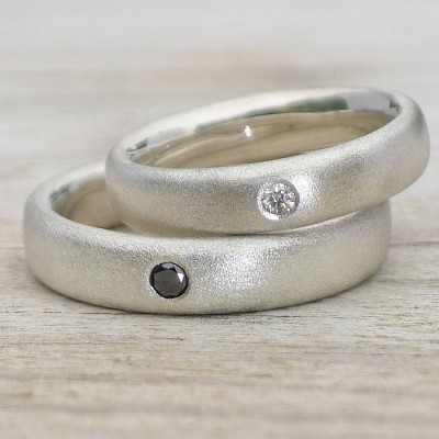 Handmade Frosted Silver Diamond Wedding Rings - Name My Jewellery