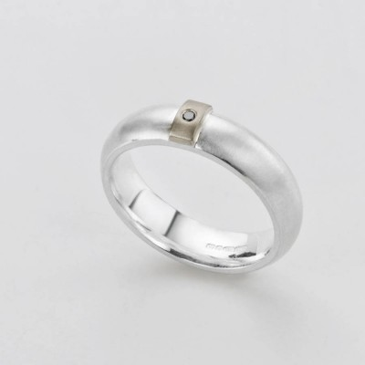 Black Diamond Linear Ring - Name My Jewellery