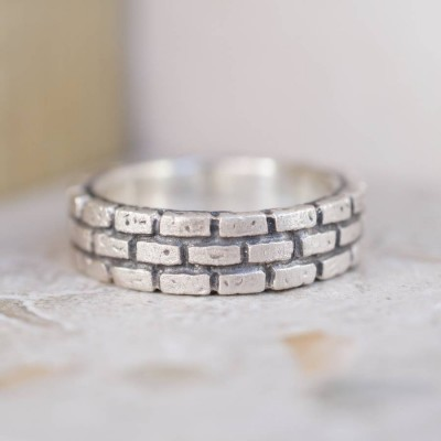 Brick Silver Ring - Name My Jewellery