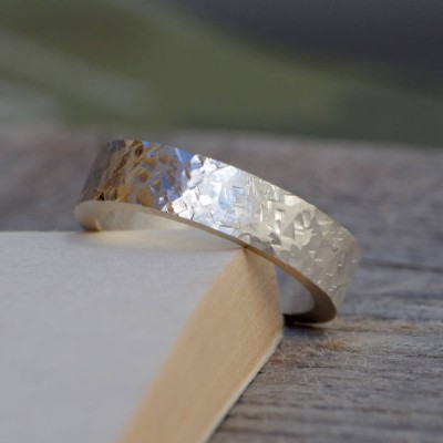 Personalised Textured Wedding Band In Sterling Silver - Name My Jewellery