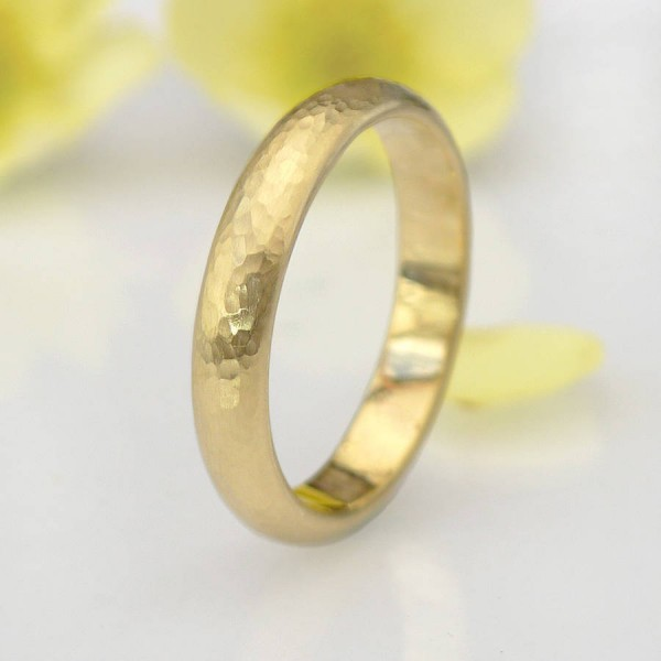 Hammered Ring In 18ct Yellow Or Rose Gold - Name My Jewellery