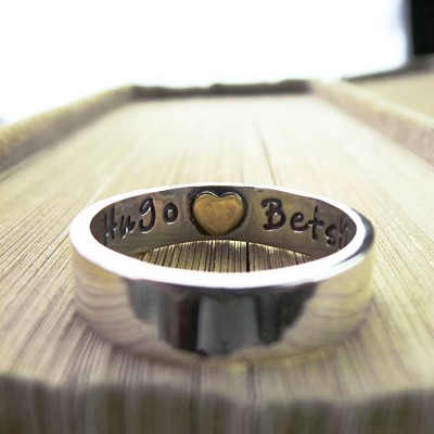 Heart Imprint Personalised Ring - Name My Jewellery