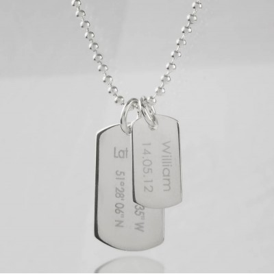 Mens Birth Day Celebration Dog Tags Necklace - Name My Jewellery