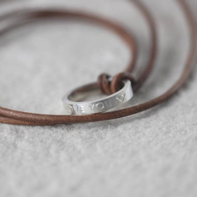 Personalised Leather Ring Necklace - Name My Jewellery