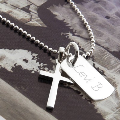 Personalised Sterling Silver Cross And Dogtag Necklace - Name My Jewellery