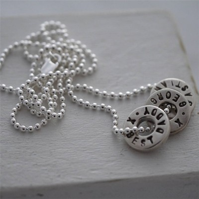 Personalised Silver Washer Necklace - Name My Jewellery