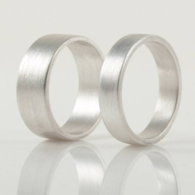 Silver Wedding Band Ring Hand Forged Flat Fit - Name My Jewellery