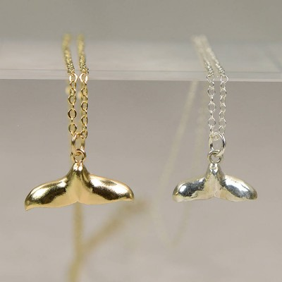 Silver Whale Tail Pendant Necklace - Name My Jewellery