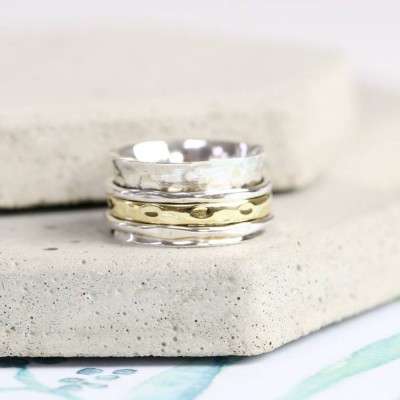 Sterling Silver And Gold Hammered Effect Spinning Ring - Name My Jewellery