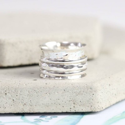 Sterling Silver Hammered Effect Spinning Ring - Name My Jewellery
