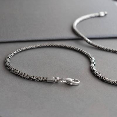 Sterling Silver Oval Snake Necklace - Name My Jewellery