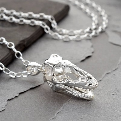 Sterling Silver T Rex Skull Necklace - Name My Jewellery