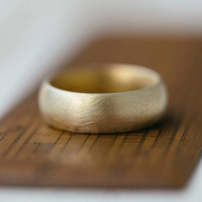 Wide Gents Soft Pebble Wedding Ring 18ct Gold - Name My Jewellery